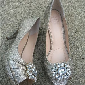 Shoes - Women's I. Miller Silver Gold Jeweled Heels 9.5M